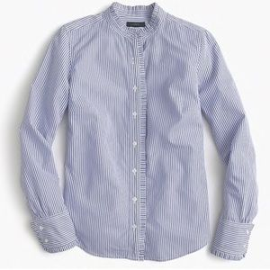 J.CREW Ruffled Striped Button Down Blouse